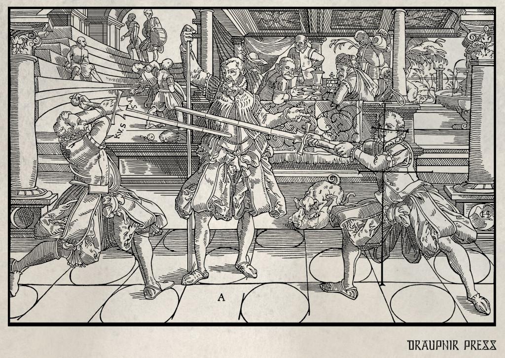 Långsvärdsfäktning från fäktmästare Joachim Meyers fäktmanual från 1570, med vad som förmodas vara Joachim Meyer själv i mitten.